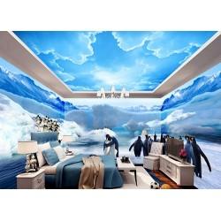 Poster géant mural grand format panoramique paysage polaire - Les pingouins
