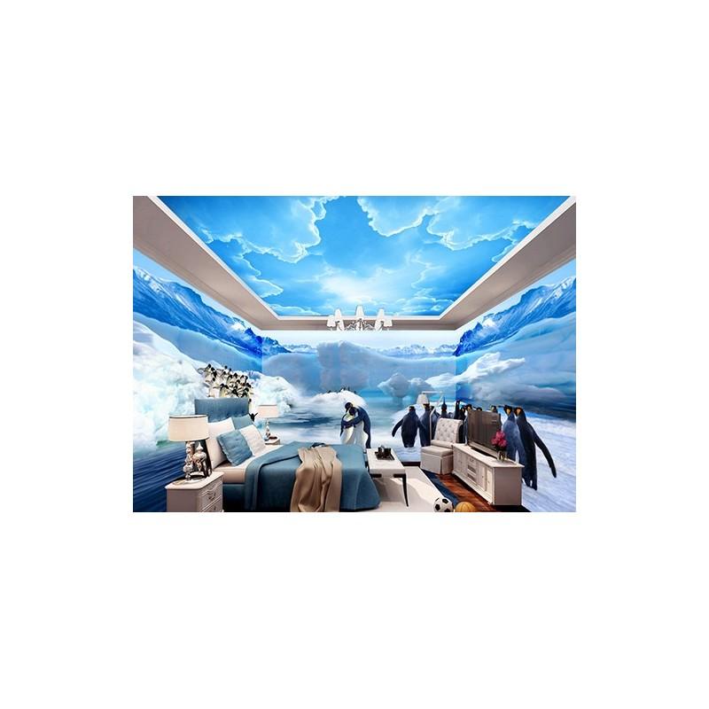 papier peint photo personnalis xxl panoramique tapisserie paysage polaire les pingouins. Black Bedroom Furniture Sets. Home Design Ideas