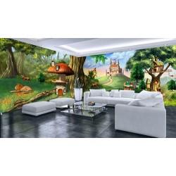 Décoration murale crèche garderie poster géant grand panoramique paysage pour enfant - Cabane, maison champignon, château