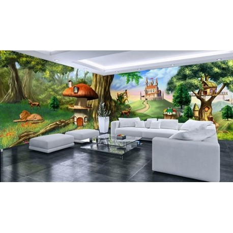 papier peint photo personnalis chambre enfant paysage panoramique pays imaginaire papier. Black Bedroom Furniture Sets. Home Design Ideas