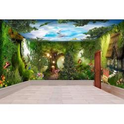 Paysage fantaisie grand panoramique - Arbre géant, forêt, animaux, maison chaussure