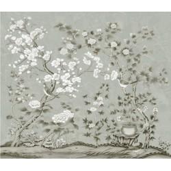 Décor zen - Tapisserie asiatique fleurs et oiseaux sur fond gris
