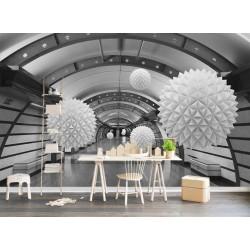 Extension d'espace - Papier peint d'artiste moderne trompe l'œil 3D en noir blanc gris - Boules flottantes dans le tunnel