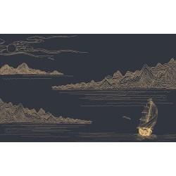 Décoration d'intérieur style japonais - Papier peint traditionnel asiatique - Montagne rivière bateau sur fond bleu foncé