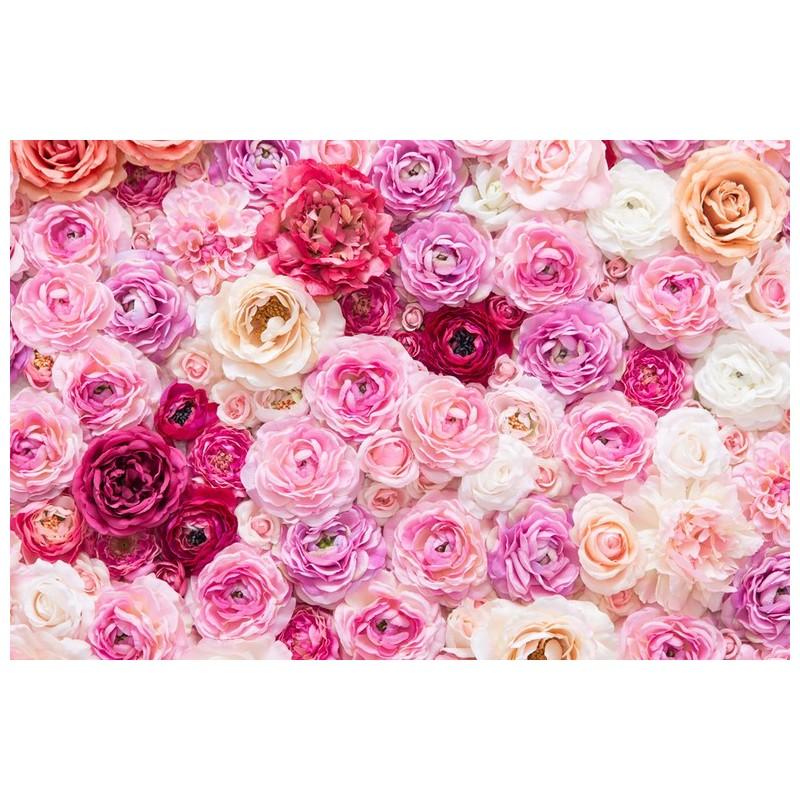 Papier Peint Floral Tapisserie Panoramique Rose Sticker Mural Xxl