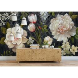 Motif issu d'un tableau d'artiste Papier peint vintage tapisserie florale - Les camélias et les tulipes