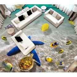 Revêtement de sol paysage fond marin trompe l'oeil 3D - Etoile de mer géante avec les coquillages et les poisson