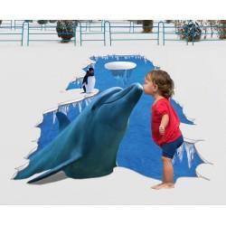 Décoration animation événementielle Revêtement de sol trompe l'oeil 3D trou au sol - Le dauphin et le pingouin sur la glace