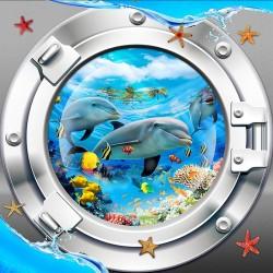Revêtement de sol showroom salle de bain trompe l'oeil 3D - Paysage depuis le hublot sous marin les dauphins