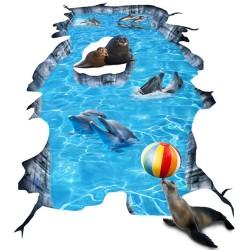 Animation événementielle Revêtement de sol trompe l'oeil trou dans le sol centre commercial - Les dauphins et les phoques