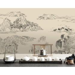 Tapisserie zen paysage asiatique dessin d'artiste japonais traits noirs sur fond beige