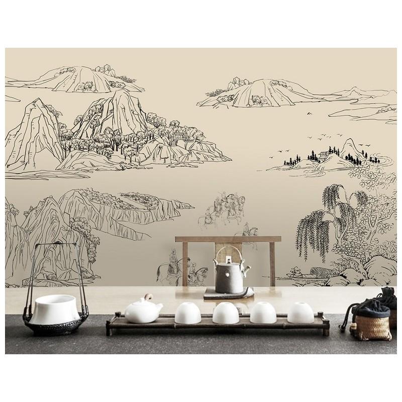 Tapisserie Asiatique Decoration Style Japonais Noir Et Blanc