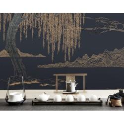 Décoration zen style japonais - Papier peint paysage asiatique - Montagne saule pleureur sur fond bleu foncé