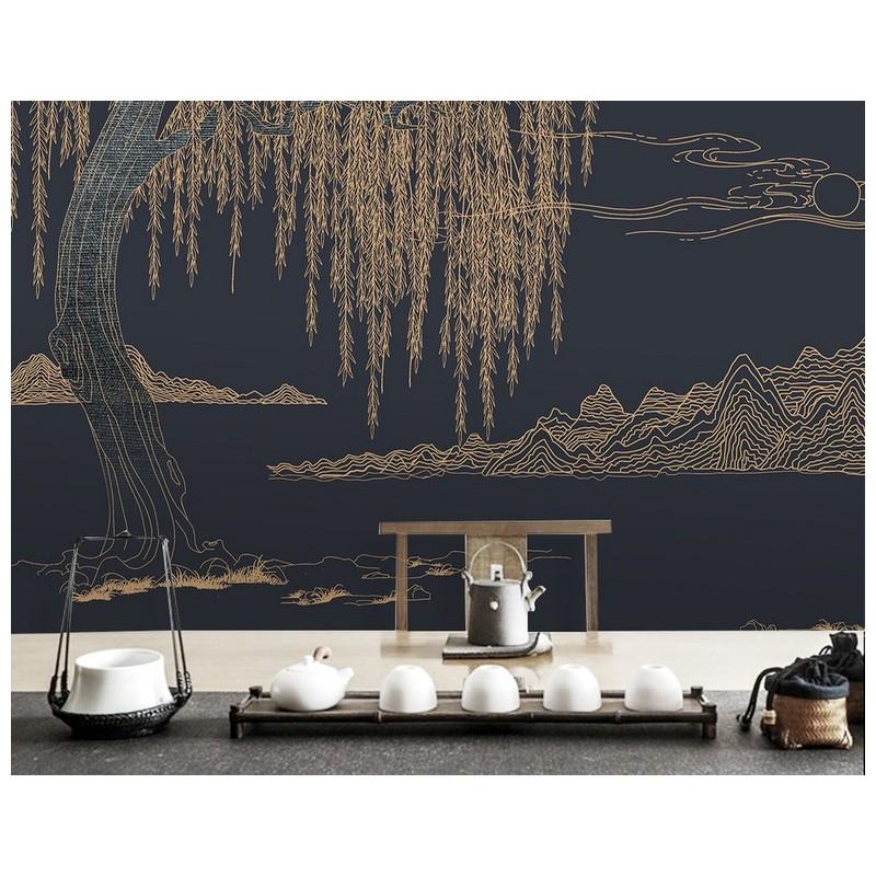 décoration d'interieur hôtel paysage zen papier peint japonais saule on