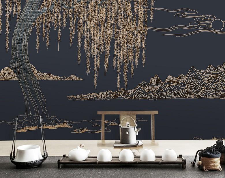 Decoration D Interieur Hotel Paysage Zen Papier Peint Japonais Saule
