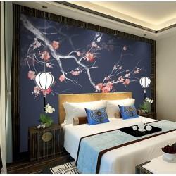 Décoration d'intérieur zen style japonais - Les fleurs de Mei sur fond bleu foncé