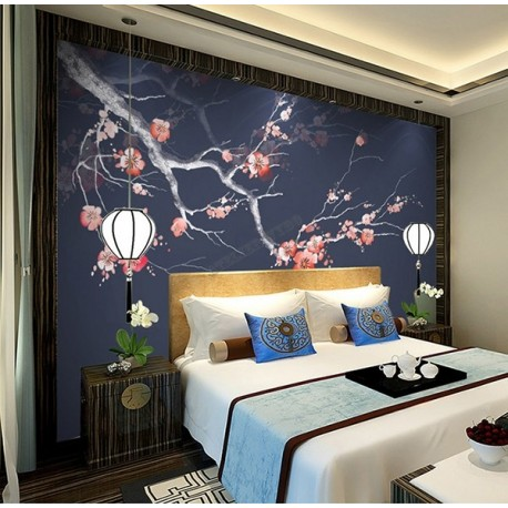 d coration d 39 interieur zen chambre d 39 h tel papier peint japonais fleur mei sur fond bleu fonc. Black Bedroom Furniture Sets. Home Design Ideas