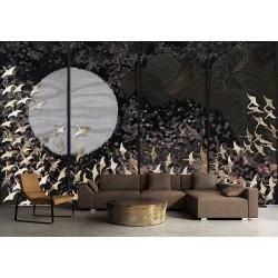 Paravent japonais - Les oiseaux dorés et les fleurs sur fond noir