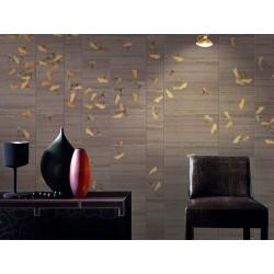 Papier peint japonais - Les feuilles de l'abricotier d'argent sur carrelage marron