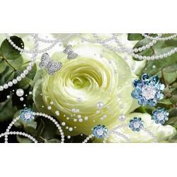 Décoration murale romantique cérémonie de mariage - La rose blanche et les perles
