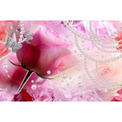 Décoration murale tapisserie romantique cérémonie de mariage - Les fleurs roses et les perles
