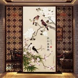 Tapisserie asiatique esprit zen format portrait - Les magnolia, les fleurs de pêcher, les bambous et les oiseaux