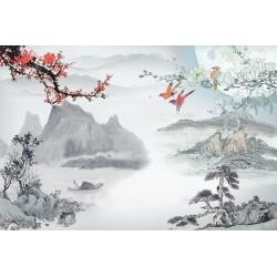 Papier peint asiatique - Paysage avec les fleurs et les oiseaux
