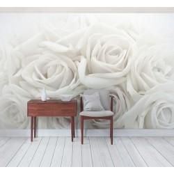 Papier peint photo romantique - Les roses blanches