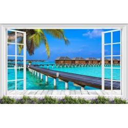 Décoration trompe l'œil 3D vue depuis la fenêtre - Paysage tropical hôtel flottant