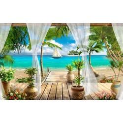 Papier peint photo paysage trompe l'œil 3D - Maison de vacances avec plage privée