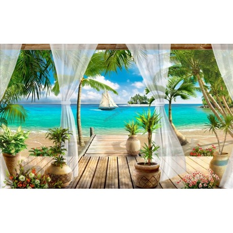 d coration 3d papier peint photo personnalis sticker xxl trompe l il paysage tropical. Black Bedroom Furniture Sets. Home Design Ideas