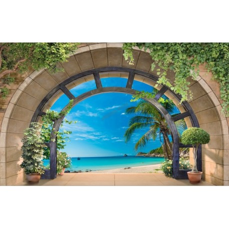 d coration int rieur 3d papier peint photo personnalis sticker mural trompe l il paysage tropical. Black Bedroom Furniture Sets. Home Design Ideas