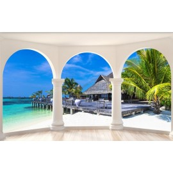 Paysage trompe l'œil 3D - Maison sur pilotis vue depuis la terrasse en bois avec colonnes