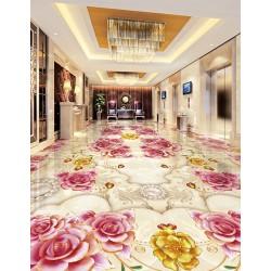 Décoration appartement témoin - Revêtement de sol 3D les fleurs de  rose et les perles sur marbre effet bas relief