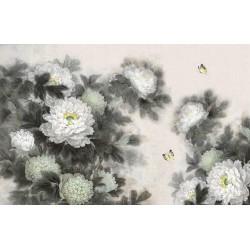 Peinture asiatique aspect ancien les pivoines et les papillons en noir et blanc format panoramique