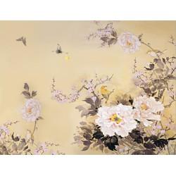 Tapisserie florale style japonais - Les pivoines, les fleurs de pêcher et les oiseaux format panoramique