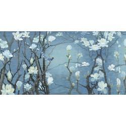 Papier peint chinois zen format panoramique - Les magnolias et les oiseaux