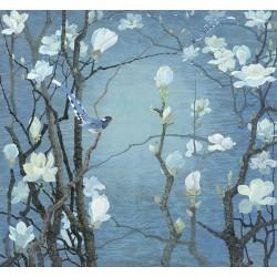 Papier peint chinois zen - Les magnolias et les oiseaux