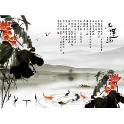 Tapisserie numérique style chinois - Paysage avec les lotus rouges et les poissons