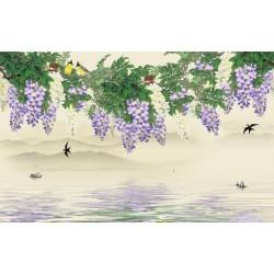 Tapisserie asiatique paysage de printemps - La glycine, les hirondelles et les loriots