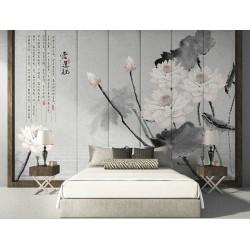 Tapisserie asiatique fond gris aspect ancien - Les lotus blancs et le poème chinois