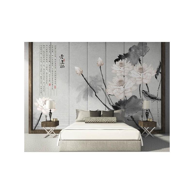 d coration asiatique chambre coucher tapisserie murale fond gris les lotus et le po me chinois. Black Bedroom Furniture Sets. Home Design Ideas