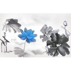 Peinture à l'encre de Chine zen en noir blanc et bleu - Les lotus bleus