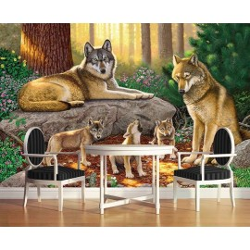 Papier peint photo paysage issu d'un tableau d'artiste - La famille loup dans la forêt