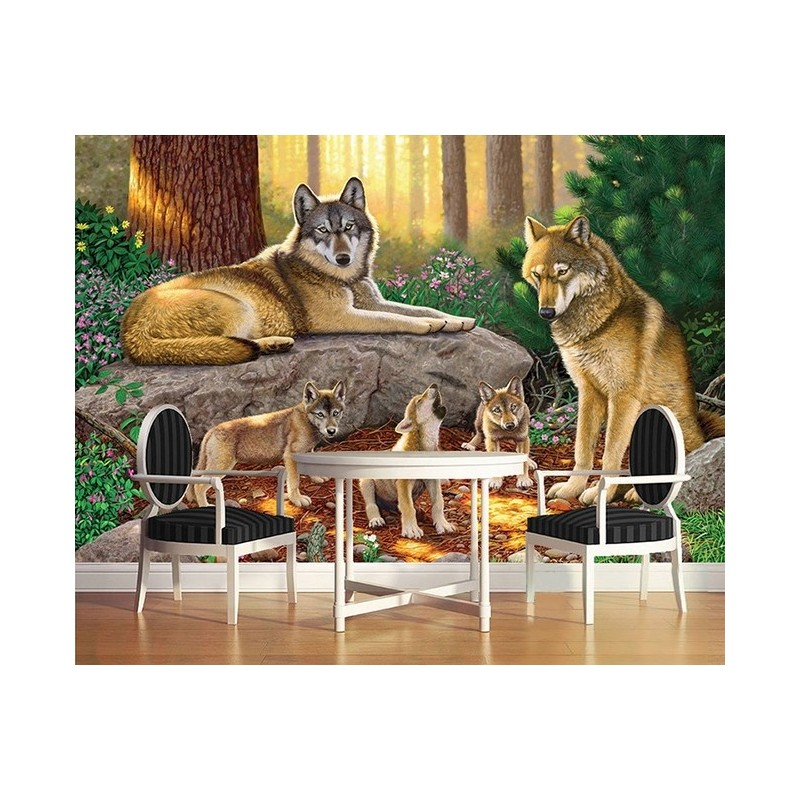 d coration murale motif d 39 artiste sticker xxl animaux papier peint photo paysage les loups dans. Black Bedroom Furniture Sets. Home Design Ideas