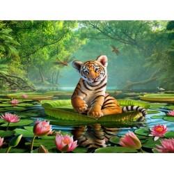 Décoration chambre d'enfant sticker XXL - Le bébé tigre sur une feuille de nénuphar géant