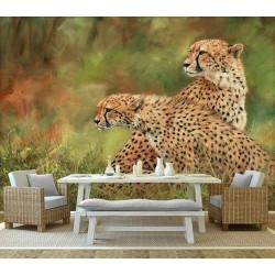 Papier peint photo animaux sauvages issu d'un tableau d'artiste - Les 2 guépards dans la savane