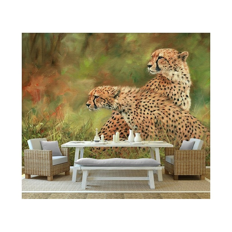 papier peint photo gu pard d coration murale paysage savane sticker xxl animaux sauvages. Black Bedroom Furniture Sets. Home Design Ideas