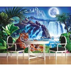 Papier peint photo animaux sauvages issu d'un tableau d'artiste - La famille tigre au bord de la chute d'eau dans la nuit