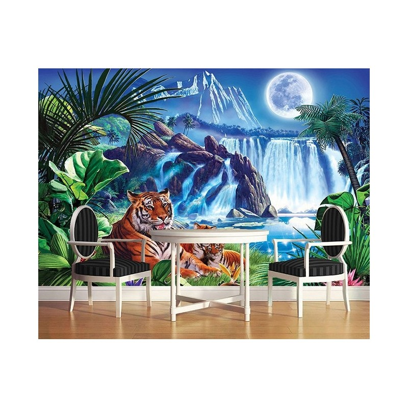 papier peint d 39 artiste tigre d coration murale paysage chute d 39 eau sticker xxl animaux sauvages. Black Bedroom Furniture Sets. Home Design Ideas